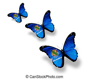 oklahoma, mariposas, tres, aislado, bandera, blanco
