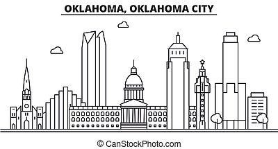 Oklahoma, Oklahoma City architecture line skyline ...