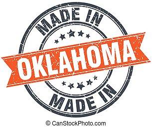 Oklahoma orange grunge ribbon stamp on white