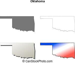Oklahoma outline map set - Oklahoma state blank vector ...