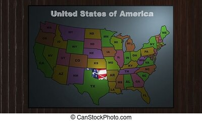 Oklahoma pull out from USA states abbreviations map