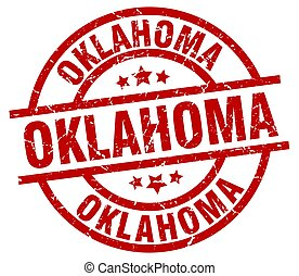 Oklahoma red round grunge stamp