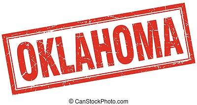 Oklahoma red square grunge stamp on white