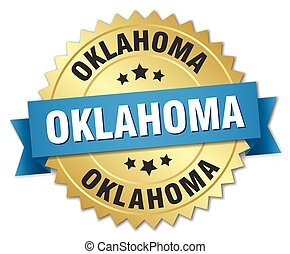 Oklahoma round golden badge with blue ribbon