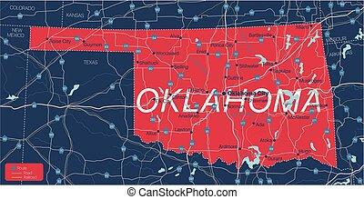 Oklahoma state detailed editable map
