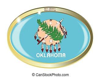 Oklahoma State Flag Oval Button