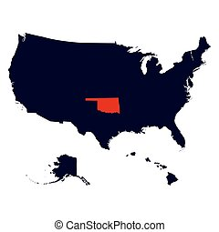 Oklahoma State in the United States map
