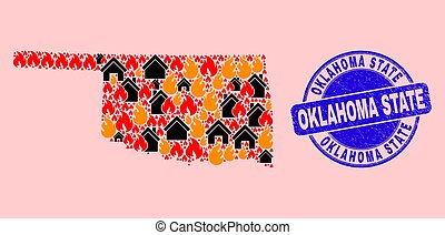Oklahoma State Map Composition of Fire and Realty and Distress Oklahoma State Seal Stamp