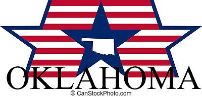 Oklahoma state map, flag, and name.