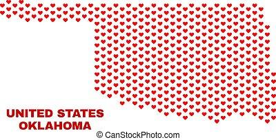 Oklahoma State Map - Mosaic of Love Hearts