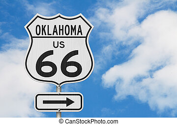 Oklahoma US route 66 road trip USA highway road sign