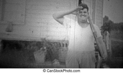 OKLAHOMA, USA - 1943: Man joking - Original vintage 8mm home...