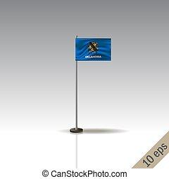 Oklahoma vector flag template. Waving Oklahoma flag on a metallic pole, isolated on a gray background.