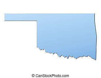 Oklahoma(USA) map filled with light blue gradient. High...