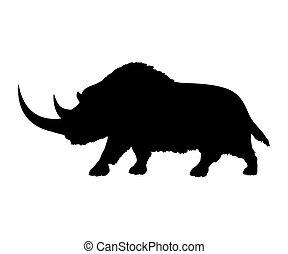 oklar, noshörning, silhuett, utdöd, mammalian, djur