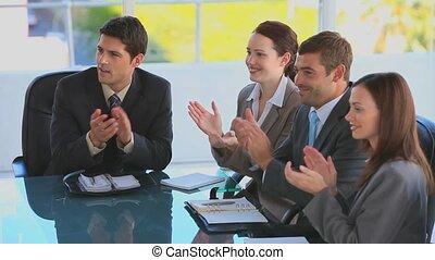 oklaski, businessteam, siła robocza, ich, d
