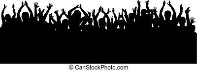 oklaski, sylwetka, koncert, tłum, odizolowany