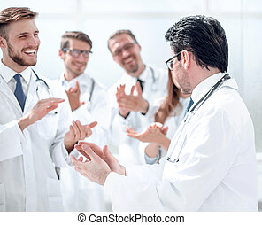 oklaskując, leczy, inny, grupa, każdy