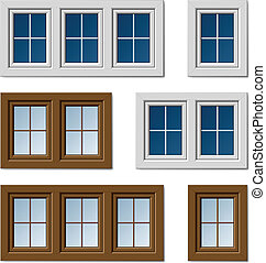 okna, brązowy, biały, wektor, plastyk