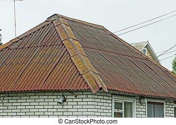 okna, cegła, szary, stary, dom