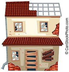 okna, dom, stary, zrujnowany