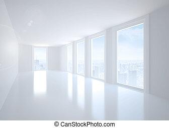 okna, jasny biel, korytarz