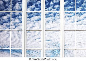 okna, niebo