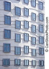 okna, nowoczesny, -, architektura