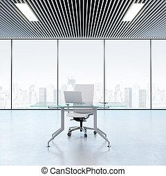 okna, nowoczesny, miejsce pracy, biuro