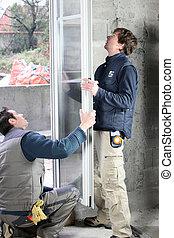 okna, nowy, mężczyźni, dwa, instalowanie