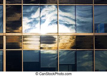 okna, odbijanie się, niebo, biuro