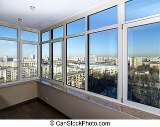 okna, prospekt miasta, przez, nowy