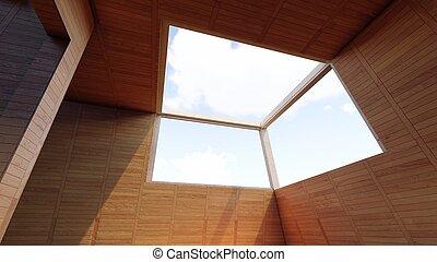 okna, przedstawienie, 3d, chmury, otwarcie