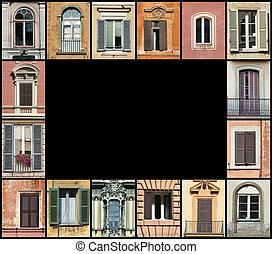 okna, sieć, ułożyć