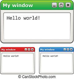 okna, wektor, komputer