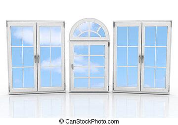 okna, zamknięty, plastyk