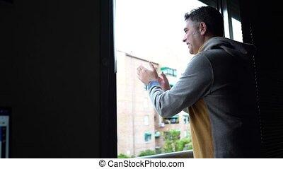 okno, coronavirus, ludzie, poparcie, człowiek, oklaski, ...