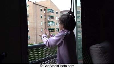 okno, coronavirus, ludzie, poparcie, dziewczyna, oklaski, ...
