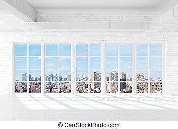 okno, do, město