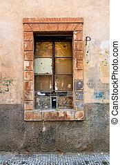 okno, grunge, szczegół