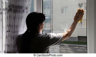 okno, kobieta, myć, młody