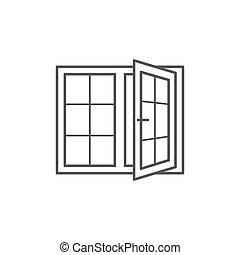okno, kreska, białe tło, ikona