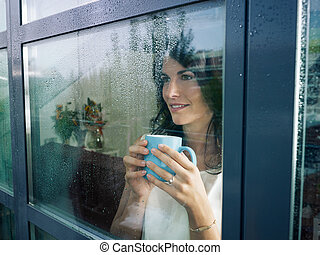 okno, manželka, upřený