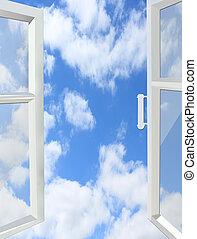 okno, niebo, otworzony