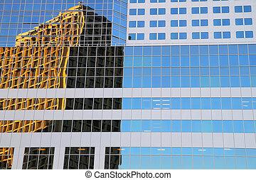 okno, odbicie, z, nowy, miasto