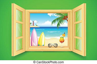 okno, plaża, prospekt morza