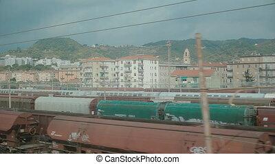 okno, pociąg, ruchomy, prospekt