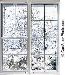 okno, przez, zima, prospekt