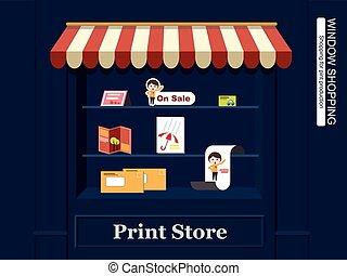 okno shopping, dla, druk, produkcja