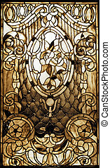 okno, vintagel, plamione-szkło